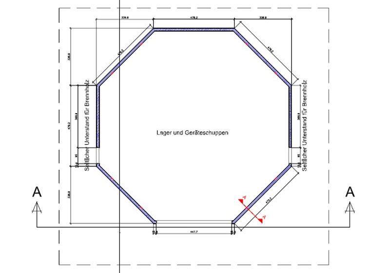 Planung und Ausführung eines Schopfes mit Lager und Geräteraum bei dem sich das Dach der Sonne nach dreht.